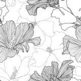 传染媒介热带无缝的样式 在白色背景隔绝的抽象异乎寻常的植物 拉长的花现有量 纺织品印刷品 库存例证