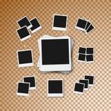 传染媒介照片框架 现实在透明背景的传染媒介立即照片框架快照 库存图片