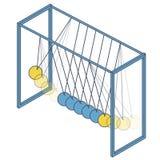 传染媒介牛顿摇摆 等量摆锤摇篮金属蒴 蓝色黄色被概述的例证 库存例证
