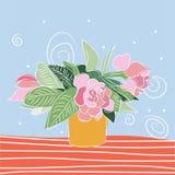 传染媒介牡丹花束例证 背景颜色绘画玫瑰花瓶水白色 开花花园夏天 免版税库存图片