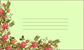 传染媒介玫瑰边界邀请卡片 免版税库存照片