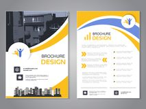 传染媒介现代小册子设计,抽象飞行物有房子背景  与城市的布局模板 蓝色、黄色和白色 向量例证