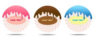 传染媒介现代样式象设置了3个糖果产品和糖果 象为网络设计商店甜点和甜产品是伟大的与 库存照片