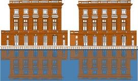 传染媒介现代megapolis在晚上 明亮的发光的大厦的照明在动画片样式的 镇外部,建筑学backgroun 皇族释放例证