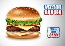 传染媒介现实汉堡包 经典汉堡美国乳酪汉堡用莴苣蕃茄葱在白色背景的乳酪牛肉 免版税库存图片