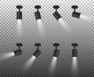传染媒介现实3d黑色聚光灯在透明背景隔绝的另外倾斜特写镜头设置了 构思设计餐馆模板 皇族释放例证