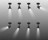 传染媒介现实3d黑色聚光灯在透明背景隔绝的另外倾斜特写镜头设置了 构思设计餐馆模板 向量例证