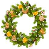 传染媒介甜圣诞节冷杉花圈 皇族释放例证