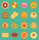 传染媒介甜点曲奇饼在背景结块鲜美快餐可口用被隔绝的巧克力奶油自创酥皮点心饼干 向量例证