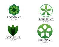 传染媒介留下绿色自然商标和标志 库存图片
