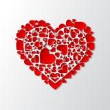 传染媒介白皮书删去了与许多小红色心脏的心脏 免版税库存图片