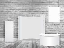 传染媒介空白的陈列商业展览摊嘲笑在白色砖墙室 图库摄影