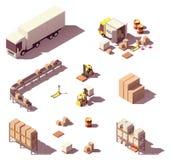 传染媒介等量低多仓库设备 库存例证