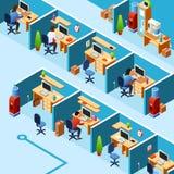 传染媒介等量小卧室办公室计划, coworking 向量例证