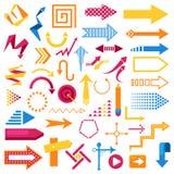 传染媒介箭头infographic标志摘要象设置了标志箭头设计方向例证商业图表设计 库存例证