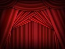 传染媒介红色阶段帷幕打开 装饰被反射的红色 库存照片