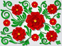 传染媒介纸删去了与红色花和绿色叶子的花卉背景 库存图片