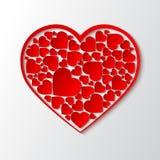 传染媒介纸删去了心脏与红色框架和与许多小红色心脏 免版税库存照片