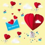 传染媒介纸牌华伦泰` s天 打开与飞行红色心脏和许多的信封在黄色背景的空气热的气球与wihit 向量例证