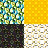 传染媒介线性六角形无缝的样式设计不同的蜂窝提取几何现代企业技术 图库摄影