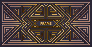 传染媒介组合图案几何艺术装饰框架,金黄线性背景,葡萄酒样式 水平的取向 向量例证