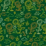 传染媒介绿色黑板样式向日葵、鸟和蜂重复样式 适用于缎带包装、纺织品和墙纸 皇族释放例证