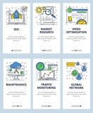 传染媒介网线性艺术onboarding的屏幕模板 SEO和数字营销,网站装货速度优化和 库存例证