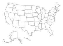 传染媒介美国的被概述的地图 皇族释放例证