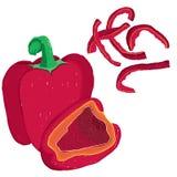 传染媒介美术的套红色响铃peper,未加工和在菜丝汤 向量例证