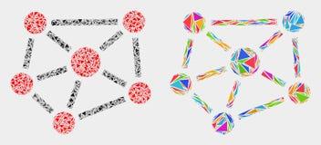 传染媒介联系三角元素马赛克象  库存例证