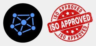 传染媒介联系象和被抓的ISO被批准的封印 向量例证