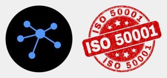 传染媒介联系链接象和被抓的ISO 50001封印 向量例证