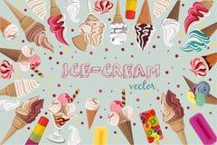 传染媒介背景用您的colout冰淇凌设计 免版税图库摄影