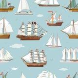 传染媒介船小船微型船老葡萄酒风船纪念品海运输旅行白色canvase无缝的样式 向量例证