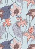 传染媒介花卉兰花样式 与叶子的重复嫩开花植物的印刷品 自然异乎寻常的装饰 秀丽广告 库存例证