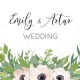 传染媒介花卉婚礼邀请,邀请,保存日期卡片des 库存例证