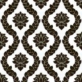 传染媒介花卉无缝的锦缎样式 黑白单色设计 库存图片