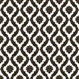 传染媒介花卉无缝的锦缎样式 黑白单色设计 免版税图库摄影