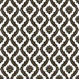 传染媒介花卉无缝的锦缎样式 黑白单色设计 库存照片