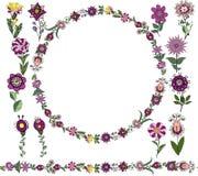 传染媒介花卉集合:无缝的刷子,圆的框架从简单的植物的元素在种族样式,淡紫色颜色花和 向量例证