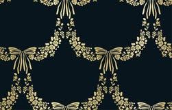 传染媒介花锦缎传染媒介无缝的样式弓 皇族释放例证