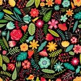 传染媒介花黑色无缝的样式 背景细部图花卉向量 库存图片