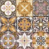传染媒介葡萄牙Azulejo铺磁砖无缝的样式背景 皇族释放例证