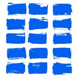 传染媒介蓝墨水画笔冲程设置了手拉的难看的东西装饰刷子冲程设计元素收藏被隔绝的方形的文本p 向量例证