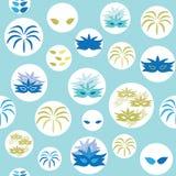 传染媒介蓝色狂欢节元素圈子无缝的样式背景 向量例证