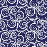 传染媒介蓝色螺旋贝壳重复样式 适用于缎带包装、纺织品和墙纸 库存例证