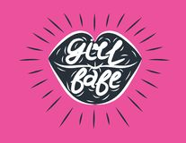 传染媒介行家嘴唇样式海报有`女孩宝贝`字法的和商标设计元素 库存例证