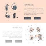传染媒介设置与平的线助听器背景 向量例证