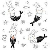 传染媒介设置与逗人喜爱的兔宝宝美人鱼 向量例证
