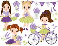 传染媒介设置与逗人喜爱的小女孩、淡紫色、自行车和旗布 向量例证